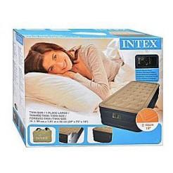 Intex 67906 Twin Pluche Airbed met Ingebouwde Pomp 99x191x46cm